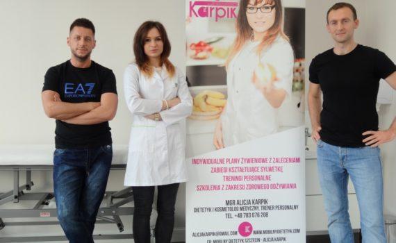 Rehabilitanci Jakub Korżak i Adrian Wawrzyniak oraz dietetyk Alicja Karpik